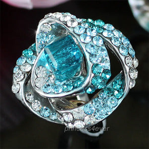 Aqua Blue Rose Flower Ring use Austrian Crystal XR146