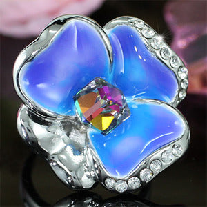 Blue Flower Ring use Austrian Crystal XR157