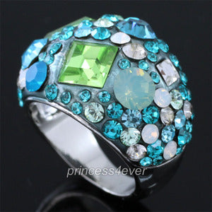 Blue Sparkling Ring use Austrian Crystal XR160