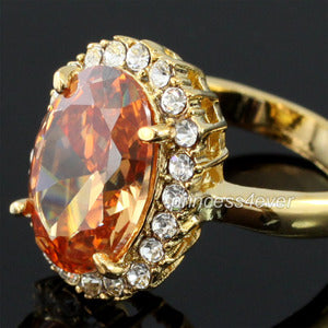 5 Carat Gold Created CZ Cubic Zirconia Ring use Austrian Crystal XR164