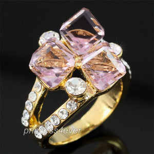 Light Pink Stylish Gold Plated Ring use Swarovski Crystal XR170