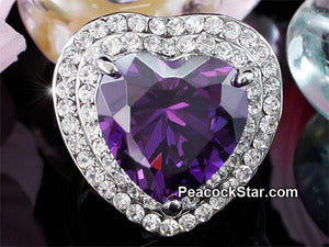 7 Carat Heart Dark Purple Created Sapphire Ring XR181