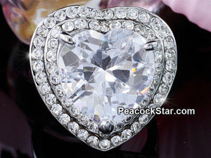 7 Carat Heart CZ Created Stone Ring use Austrian Crystal XR182