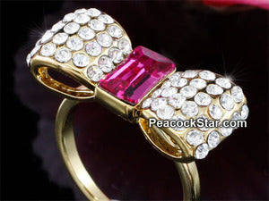 Pink Bow Gold Plated Ring use Swarovski Crystal XR183
