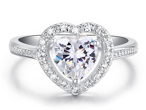1.5 Carat Sparkling Heart CZ Created Diamond Ring XR193