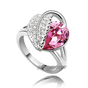 Pink Heart Pear Cut Ring use Swarovski Crystal XR195