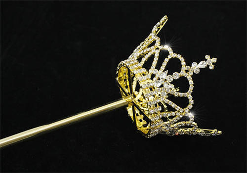 Gold Plated Unisex Scepter Crystal Pageant Party King Queen Crown Wand V6005