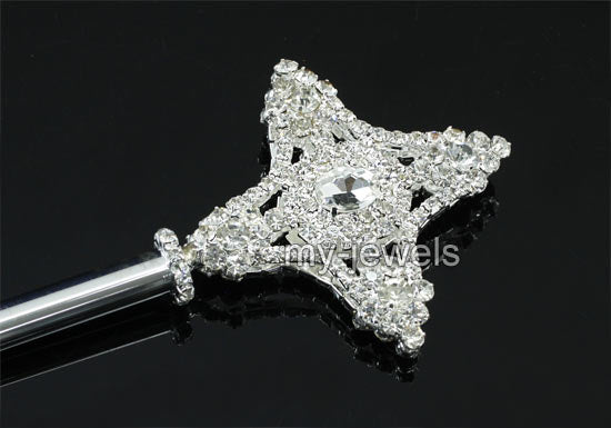 V6008 Unisex Kids Children Boy Girl Cross Silver Scepter Magic Wand Metal Crystal