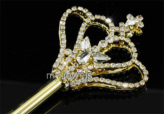 V6010 Children Girl Scepter Magic Wand Gold Costumes Princess Crown