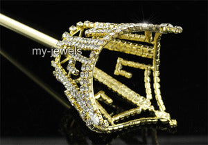 V6013 Unisex  Scepter King Queen Crown Men Women Crystal Gold Wand