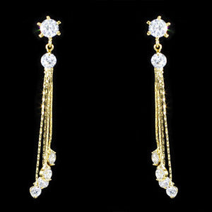Dangling Bow CZ Created Diamond Gold Plated Earrings XZE714