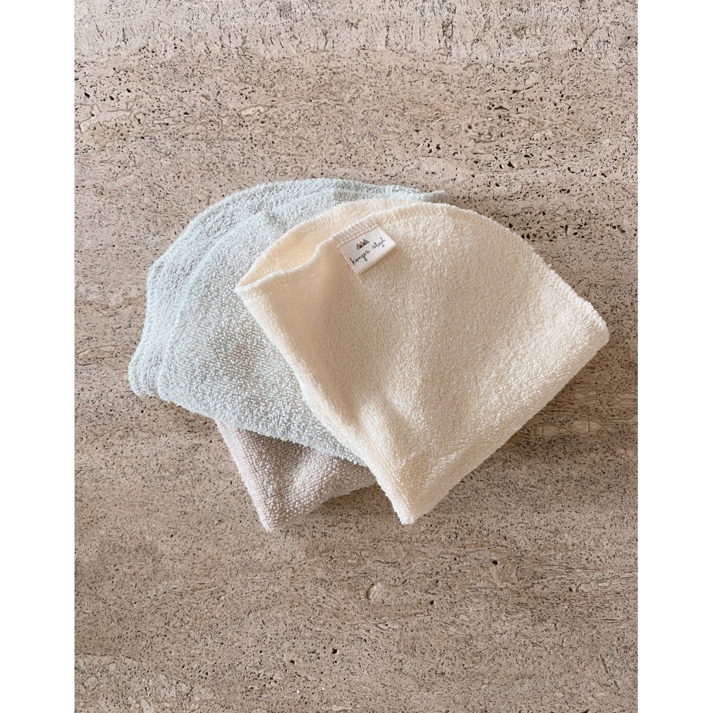 Konges Sløjd ApS 3 PACK TERRY WASH CLOTHS IN & AFTER BATH SILVER LINING
