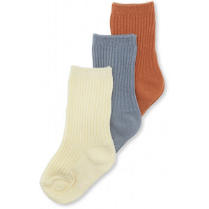 Konges Sløjd ApS 3 PACK RIB SOCKS SOCKS & STOCKINGS BISQUIT/QUARRY BLUE/LEMON SORBET
