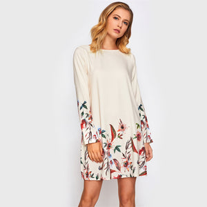 Botanical Print Tunic Dress - JSEJ Styles