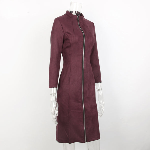 Vintage Zipper Suede Dress - JSEJ Styles