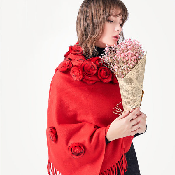 Rose Flower Real Fur Scarf - JSEJ Styles