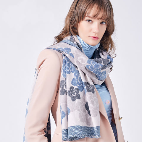 Cashmere Winter Floral Scarf - JSEJ Styles