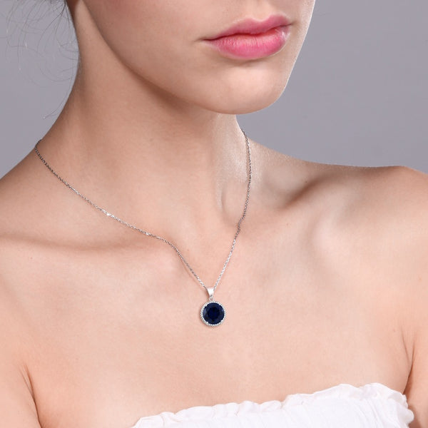 Blue Sapphire Necklace Solid 925 Sterling Silver - JSEJ Styles