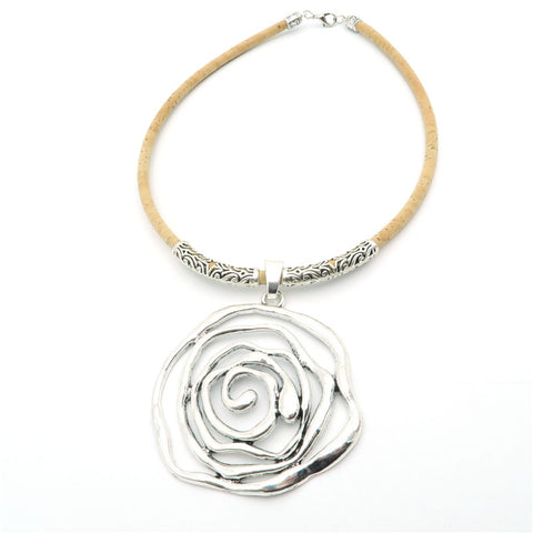 Cork Big Rose Sliver Necklace - JSEJ Styles