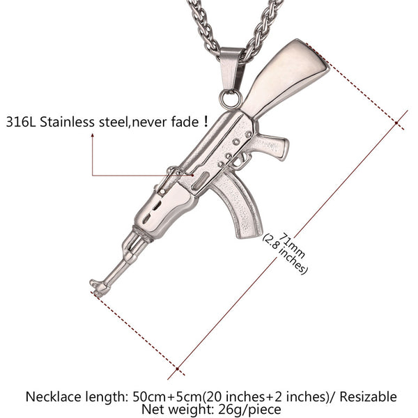 AK-47 Pendant with Necklace Gold/Silver Color Stainless Steel - JSEJ Styles