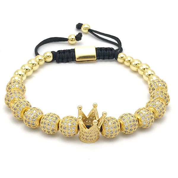 Imperial Crown Bracelet with 8mm Gold-Color - JSEJ Styles