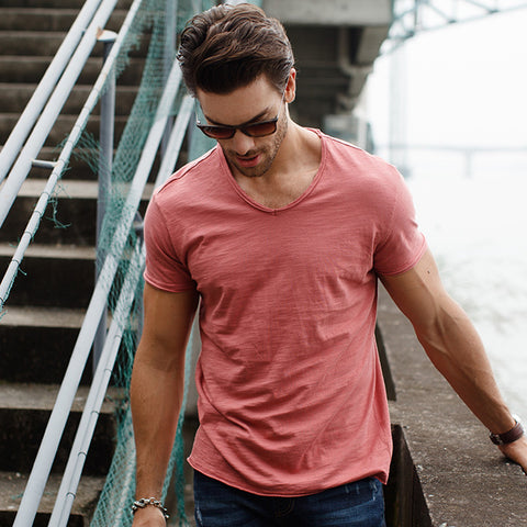 Deep V-Neck Slim Fit T-Shirt - JSEJ Styles