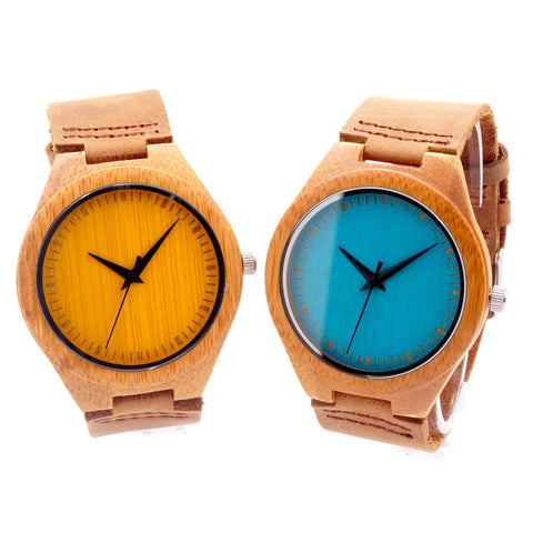 Colored Faced Natural Bamboo Watch - JSEJ Styles