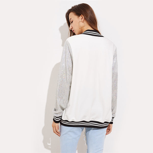 Patch Sequin Sleeve Baseball Jacket - JSEJ Styles