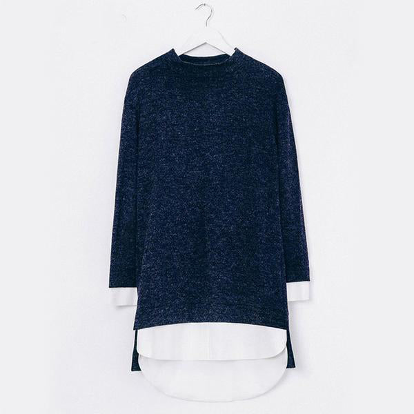 Blue Split Long Sleeve Pullover - JSEJ Styles