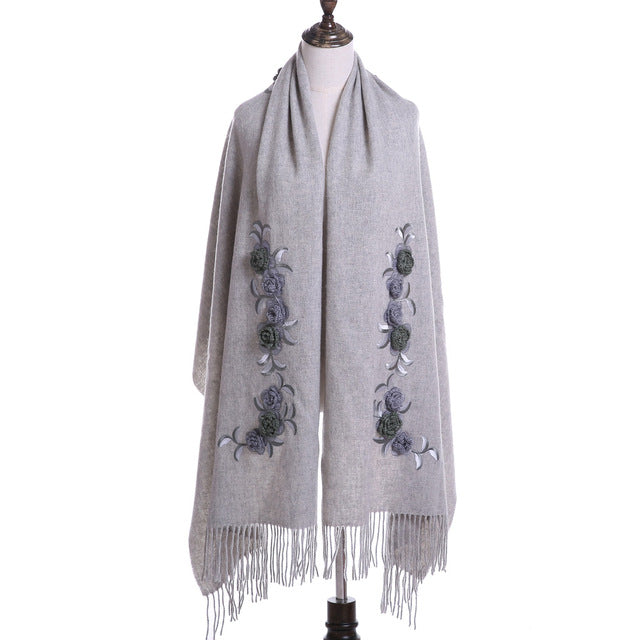 Flower Embroidery Wool Scarf - JSEJ Styles