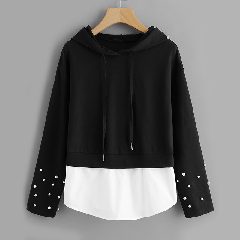 Pearl Beaded Hooded Pullover - JSEJ Styles