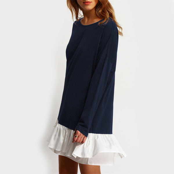 Navy Contrast Flounce Hem Dress - JSEJ Styles