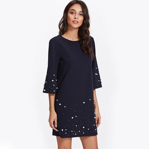 Pearl Beading Tunic Dress - JSEJ Styles
