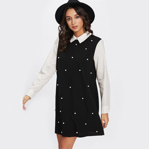Contrast Collar Swing Dress - JSEJ Styles