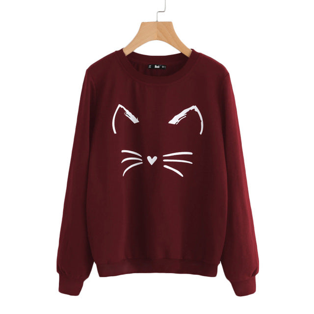 Burgundy Cat Printed Sweatshirt - JSEJ Styles