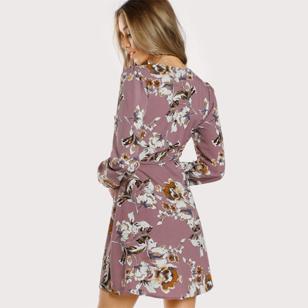 Surplice Wrap Floral Dress - JSEJ Styles
