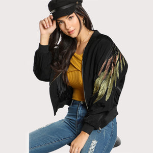 Feather Bomber Jacket - JSEJ Styles