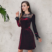 Wine Velvet Lace Dress - JSEJ Styles