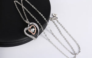Rhodium Double Heart 925 Silver Necklace - JSEJ Styles