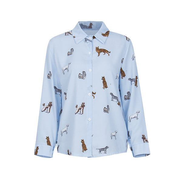 All Over Puppy Printed Blouse - JSEJ Styles