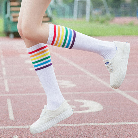 Japanese Kawaii Colorful Striped Socks - JSEJ Styles