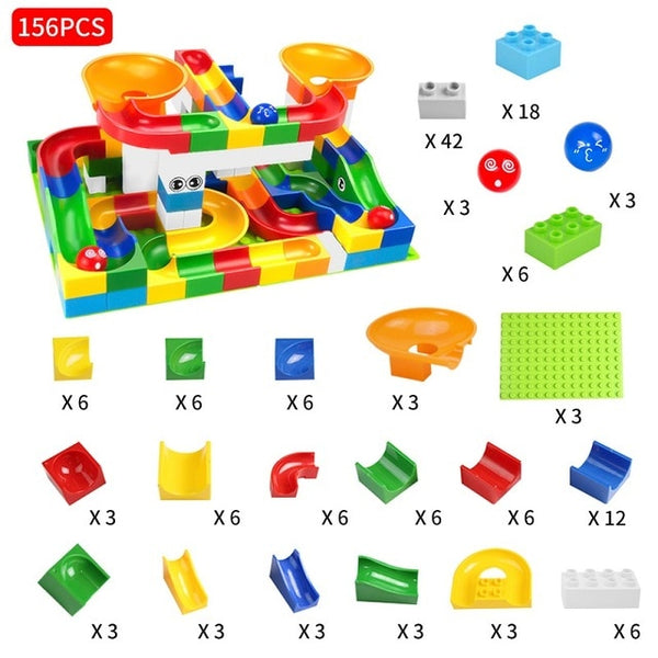 DIY Marble Race Building Blocks For Kids 52-208 pcs - JSEJ Styles