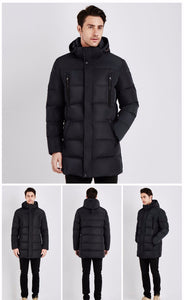 Windproof Thick Medium Long Coat - JSEJ Styles