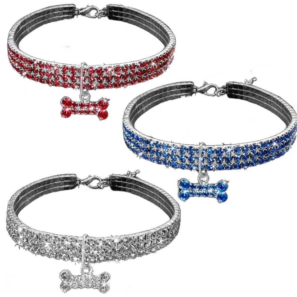 Shining Adjustable Crystal Collar (White/Blue/Red)