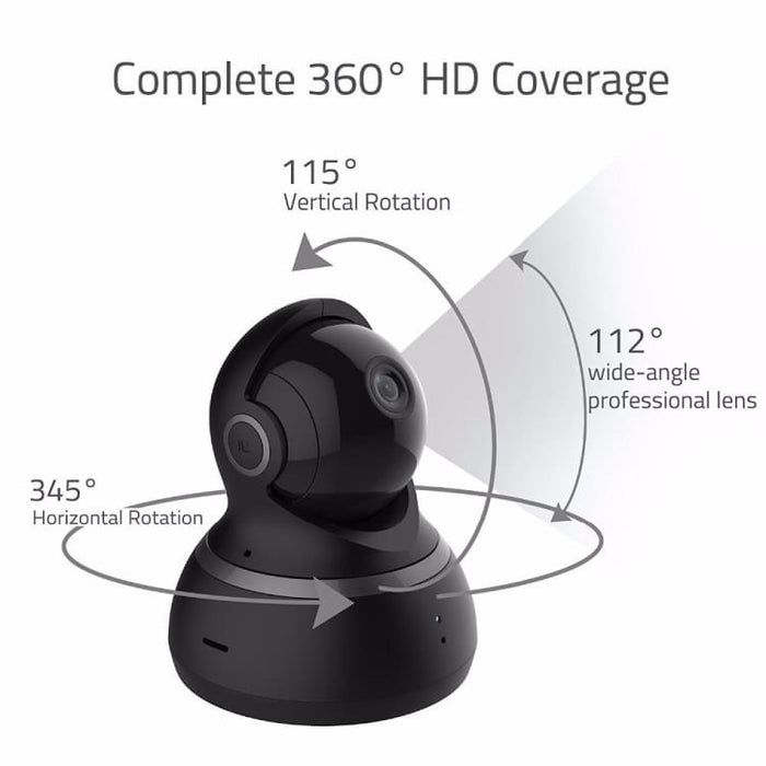 1080P Dome Camera Experience 360° Panoramic View in Hight - Quality Resolution - Black / EU Plug - Surveillance Cameras