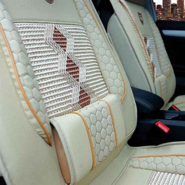 1PC Breathable Car Seat Cover - Leather - Beige - Automobiles Seat Covers
