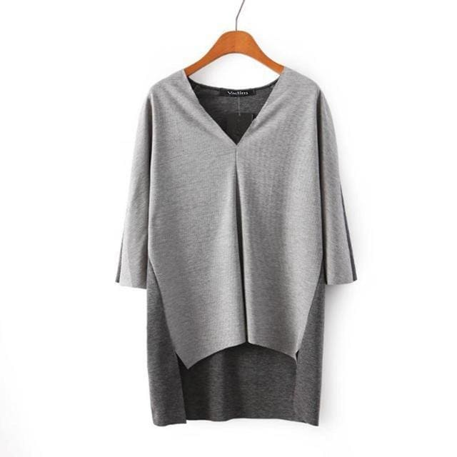 2018 Pullovers for Womens gray casual three quarter - Silver / L - Pullovers