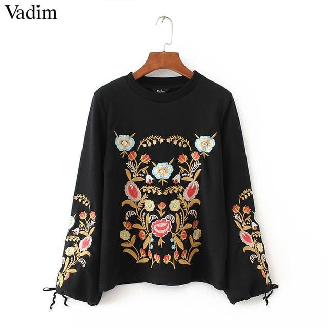 2018 sweatshirts For womens - Embroidery floral pattern - Black / L - Hoodies & sweatshirts