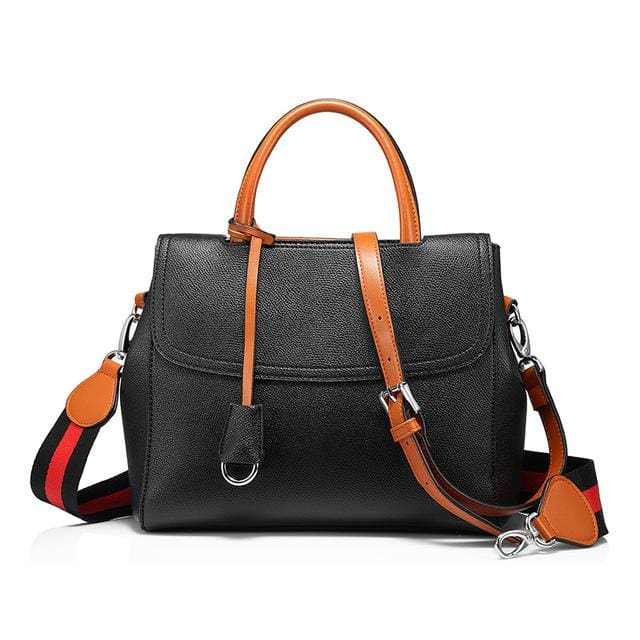 2018 Womens multifunctional handbag shoulder crossbody bags with striped - Black / China / (20cm<Max Length<30cm) - Shoulder & Crossbody