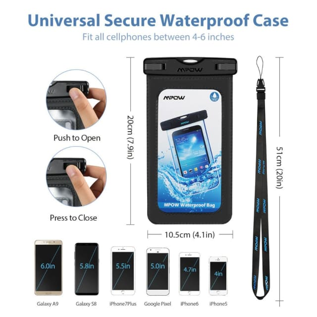2Pcs/lot Mpow Snowproof Phone bag+Arm band 2 in 1 IPX8 PVC+ABS Waterproof Bag Case For 4-6 phone For iPhone X 8 7 6 6s /Plus - Phone Pouch